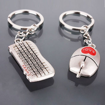 Hot Sell Lovers Keychain Buckle Gifts Couples Key Chain Ring Keyboard Mouse Love Gift for Valentines day 1STL
