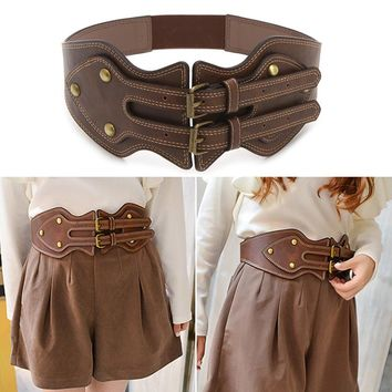 winter women lady belts Fashion crazy horse leather needle buckle