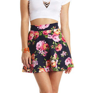 high waisted floral print skater skirt from russe