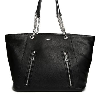 DKNY Active Leather Shopper Bag with Zip Detail