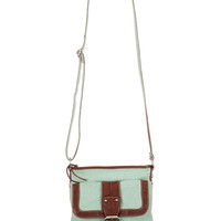 Textured Fabric And Faux Leather Crossbody Bag
