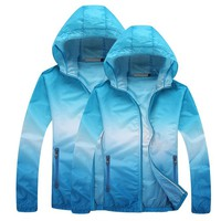 Outdoor Lightweight UV Protection Jacket Summer Beach Coat Blue - XL