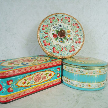 Turquoise and Pink Floral Litho Canisters - Vintage Storage Tins - Collectible Tins