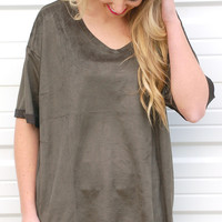 Rush Of Feelings Suede Top-Olive