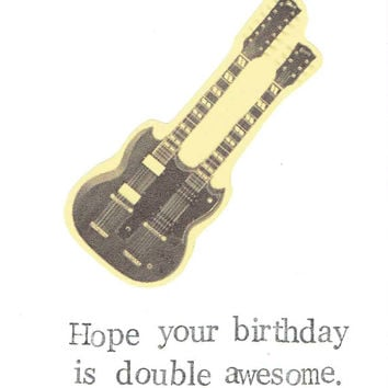 Double Awesome Doubleneck Guitar Birthday Card | Funny Rock Music Hipster Indie Weird Retro Men Women