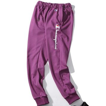 Champion fashion new printed casual wild loose trousers Purple