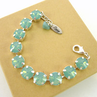 "Swarovski crystal Pacific opal bracelet, 11mm tennis bracelet, ""Sea Foam"", Designer inspired"