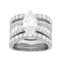 Cubic Zirconia Marquise Engagement Ring Set in Sterling Silver (White)