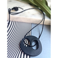 Asymetric Black Handmade Polymer Clay Necklace