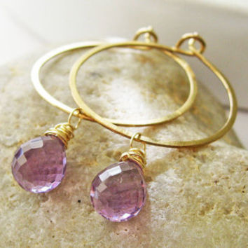 Amethyst Briolette Hoops in 14K Gold Fill by KarynHaydenDesigns