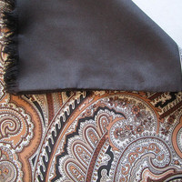 Vintage 1970s Silk Mens Scarf LAVIN French Brown Black 70s Designer Paisley Floral Silk Dress Evening Scarf