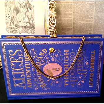 Book Clutch Alice's Adventures in Wonderland & Through the Looking Glass by Lewis Carroll Mid-century Vintage Book Purse Made to Order