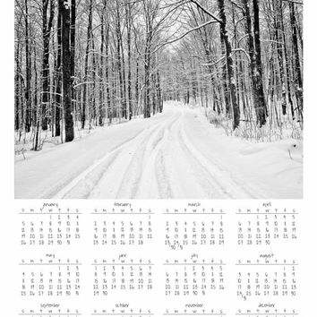 "Wall Calendar 2014, Year at a Glance, 11x14"" Print, Winter Forest, Black & White Photography, Snowy Road, Wall Art, Magical, New Year"