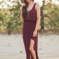 Angela Burgundy Maxi Dress