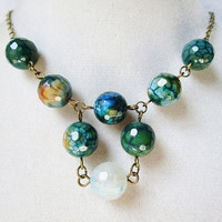 Faceted Green Teal & Blue Agate Stone Beaded Statement Necklace