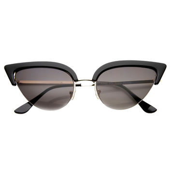d1c356c96a Women s Retro 1950 s Half Frame Cat Eye Sunglasses 9653