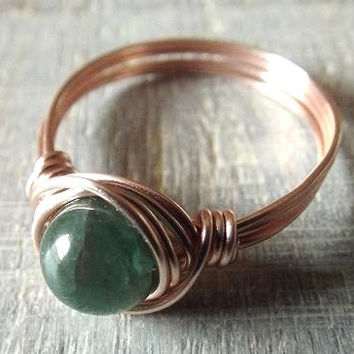 Green Apatite Ring, Rose Gold Ring, Wire Wrapped Ring, Apatite Jewelry, Thumb Ring, Cute Ring, Gift for Girlfriend, Green Stone Ring, Simple