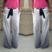 Casual Low-Waisted Drawstring Striped Loose-Fitting Women's Pants