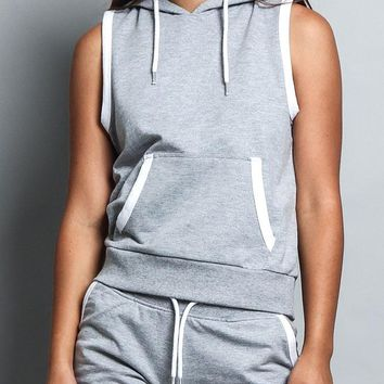 Women's Sleeveless Pullover Hoodie (Top Only)