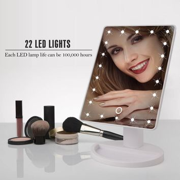 8 Lights 1X/2X Magnifier LED Screen Easy Makeup Mirror 2 Folding Adjustable Portable Compact Pocket Nice Gift