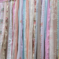 Shabby Shower Curtain - rustic chic romantic boho - Fabric Garland Backdrop - rod pocket  6 ft x 6 ft
