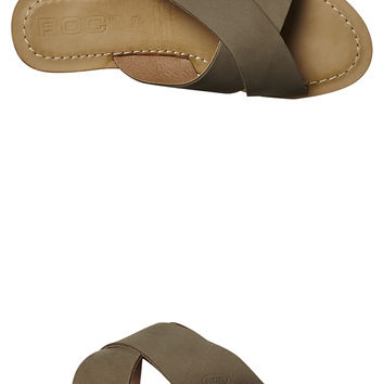 ROC BOOTS WOMENS LEATHER BOCCE SLIDE - STONE NUB