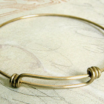 Raw Brass Adjustable Bangle Bracelet, Expandable Bracelet, Charm Bracelet 69mm- 1 pc.