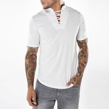 Bandages V-neck Casual Cotton T Shirts