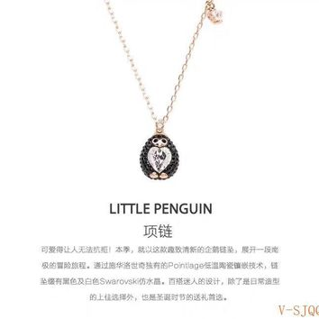 Hcxx 19Oct 597 Fashion Jewelry Swarovski Little Penguin heart-shaped crystal pendant clavicle Necklace