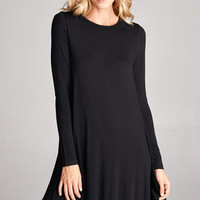 Solid Long Sleeves Rounded Neckline and Hem Flowy Dress
