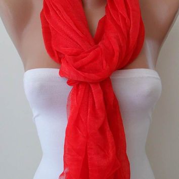Christmas Gift  - New Scarf - Red Summer Scarf - Tulle Fabric - Seamless Shawl