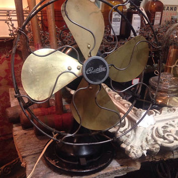 Vintage steampunk industrial Century brass desk Fan