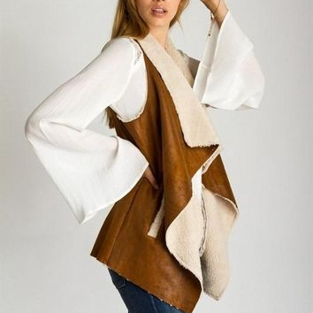 Spiced Cider Suede and Shearling Vest FINAL SALE!