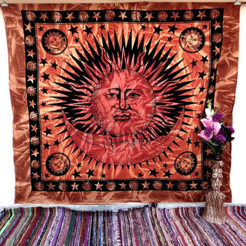 Sun and moon bedspread, wall decor, wall hanging,beach throw