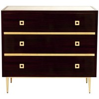 Hudson Rosewood 3-Drawer Chest | Gold