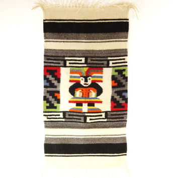 1960s Central American Wool Serape - Wall Hanging Rug - Mid Century Mexico Mayan Decor