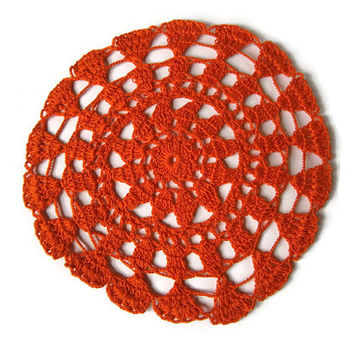 Crochet doily, lace doilie, table decoration, crocheted place mat, center piece, doily tablecloth, table runner, napkin,orange
