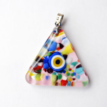 Murano Glass Evil Eye Triangle Pendant , Lamp Work Necklace,Colorful Transparent Bead Pendant, Colourful Murano Lampwork Turkish Evil Eye