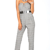 CHECKERED BUSTIER JUMPSUIT WITH BELT
