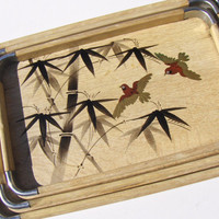 Vintage Bamboo Bar Trays 1960s Asian Home Decor Nesting Set of 3