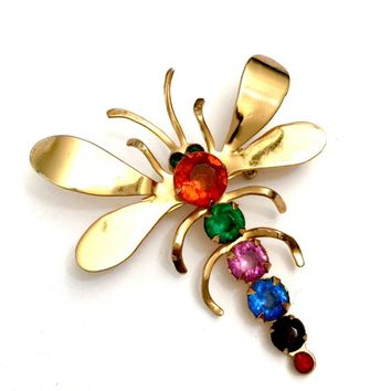 Coro Dragonfly Brooch Jewel Tone Rhinestone Body & Green Rhinestone Eye Gold Plated Mid-Century Design, Vintage Figural Signed Gift for Her
