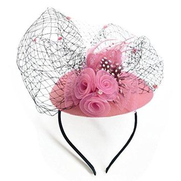 Coolwife Womens Fascinators Hat Pillbox Hat British Bowler Hat Flower Veil Wedding Hat Tea Party Hat