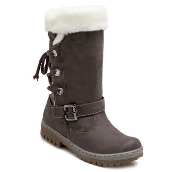Fur Designed Lace Up Boots With Buckle Strap