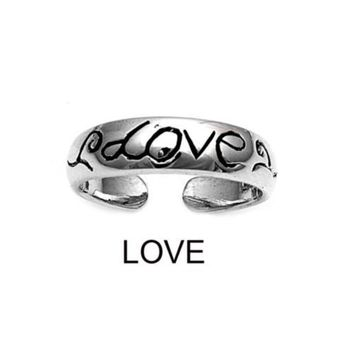 Sterling Silver Love 5MM  Toe Ring/ Knuckle/ Mid-Finger