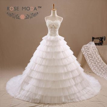 Lace Corset Wedding Ball Gown Pleated Tulle Tiered Skirt Pearl 3D Flowers Vestidos de Noiva Real Photos