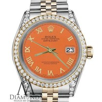 Rolex 36mm Datejust 2 Tone Orange Roman Numeral Dial with Diamond Bezel & Lugs