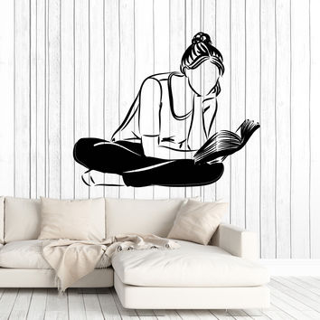 Wall Vinyl Decal Girl Book Reading Library and Home Interior Decor Unique Gift z4591