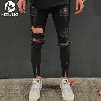 Biker Jeans Men High Stretch Cargo Denim Jeans with Zippers Pleated Slim Jean Men's Scratched Pants