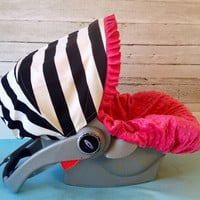 Infant Car Seat Cover, Baby Car Seat Cover in Black and White stripes, ruffle not included