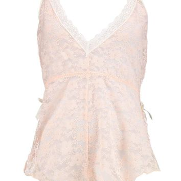 Zoe Pink Pretty Lace Bow Plunge Teddy | Boohoo